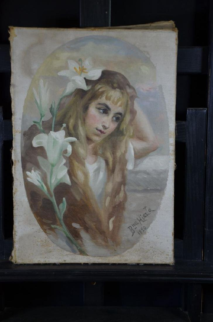 Oil on canvas Portrait of a girl, signed Bne Hierta