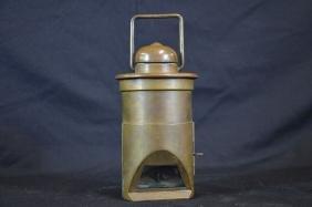 Rare lampe à pétrole avec anse, en laiton avec miroir