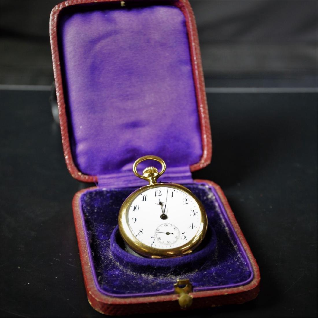 18ct Gold pocket watch KOEHN Genève. Enameled clock