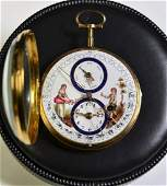 18ct gold pocket watch Painted clock face and zodiac