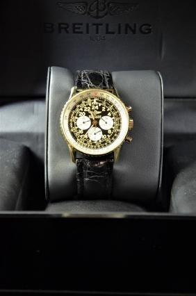 Gold chronograph BREITLING Cosmonaute. 24-hours clock