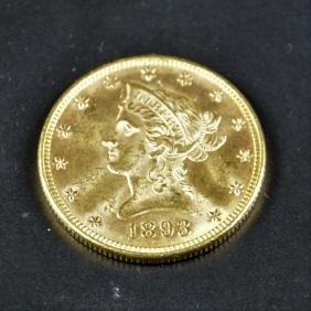 Pièce or de 10 dollars 1893.