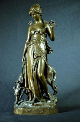 Statue en bronze Nymphe de Diane, signée Barbedienne,