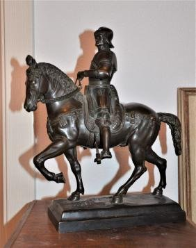 Bronze of a rider, signed Verrocchio. The original is