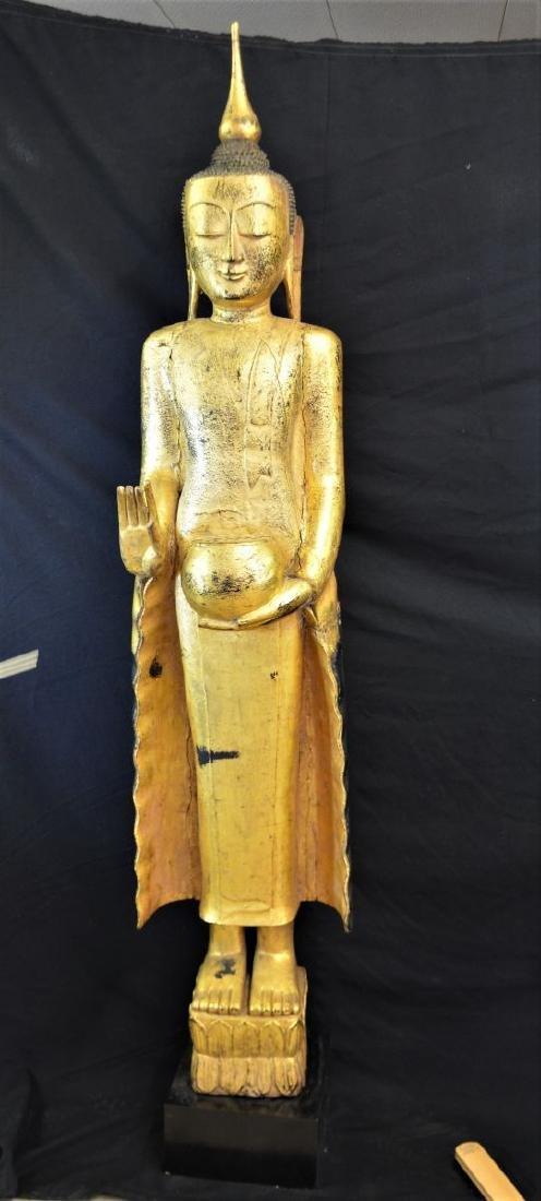 Teakwood Buddha Shan, hand carved, gilded. 190cm high.