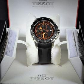 Automatic steel chronograph Tissot. With natural rubber
