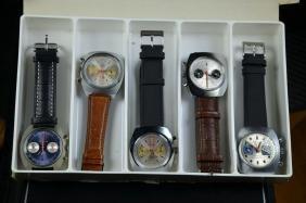 5 wristwatches Chronograph. Caliber 773 Valjoux. New