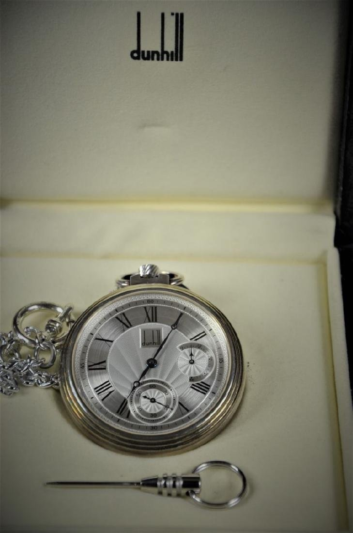 Pocket watch DUNHILL with silver watch chain. Ø 51.5mm.