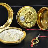 Pocket watch with double case Gilded Signed Smith