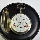 Silver pocket watch Painted clock face Double