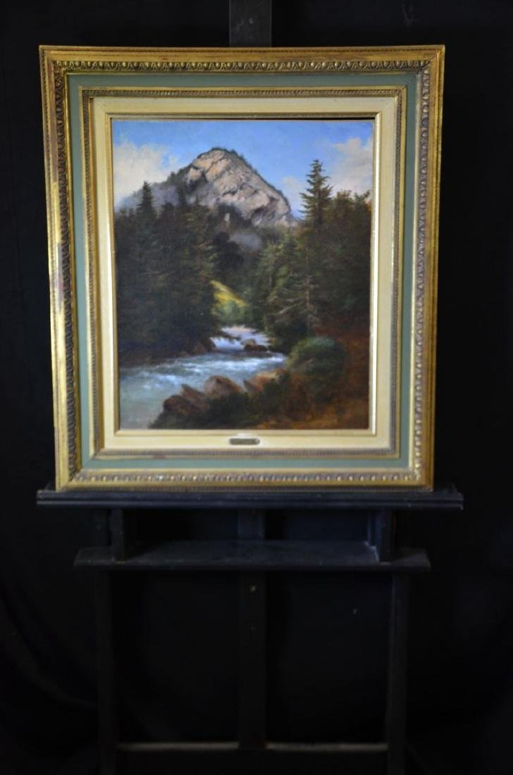 Oil on canvas River landscape with mountain , can be