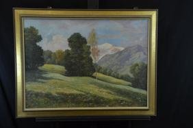 Oil on canvas Summer meadow in front of mountains,