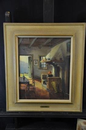 Oil on canvas Am Kamin, signed Paul Kömme. 44 x 37cm.