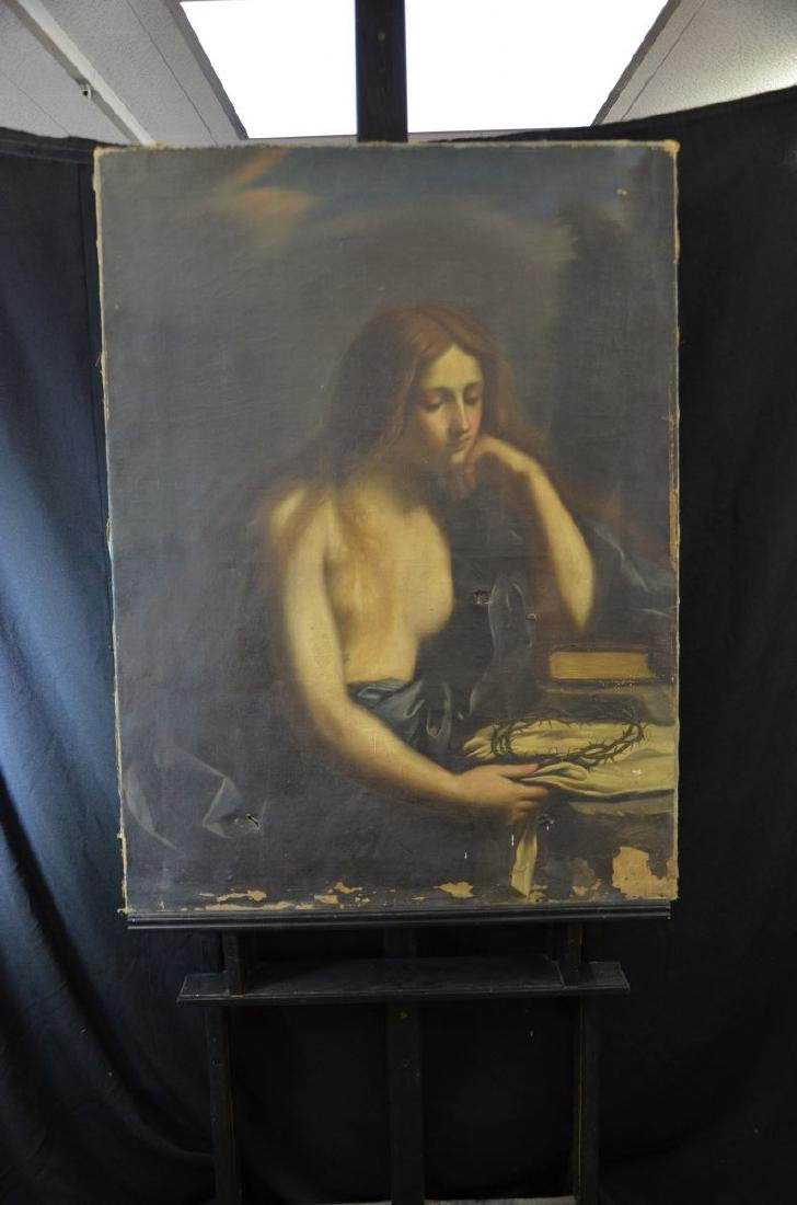 Oil on canvas Girl with crown of thorns, unsigned.