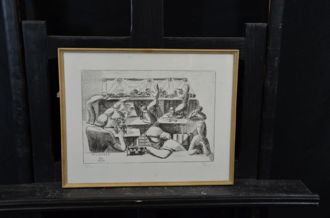 Lithography 76600 Pivotage, signed R. Huguenin. 21 x