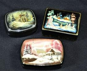 3 petites boîtes Fedoskino, peinture miniature Paysages