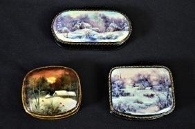 3 boîtes Fedoskino, signées, peinture miniature
