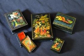 5 boîtes Fedoskino, scènes de contes russes peintes,