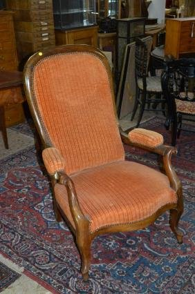 Fauteuil Louis-Philippe, tissu orange.