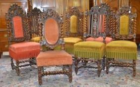 7 chaises noyer sculpté, style Louis XIII, rembourrées.