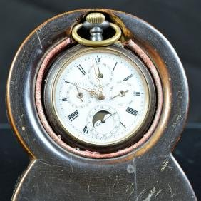 Steel pocket watch with full calendar and moon phase.