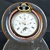 Steel pocket watch with full calendar and moon phase
