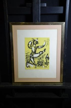 Original Lithography on yellow paper by Marc Chagall