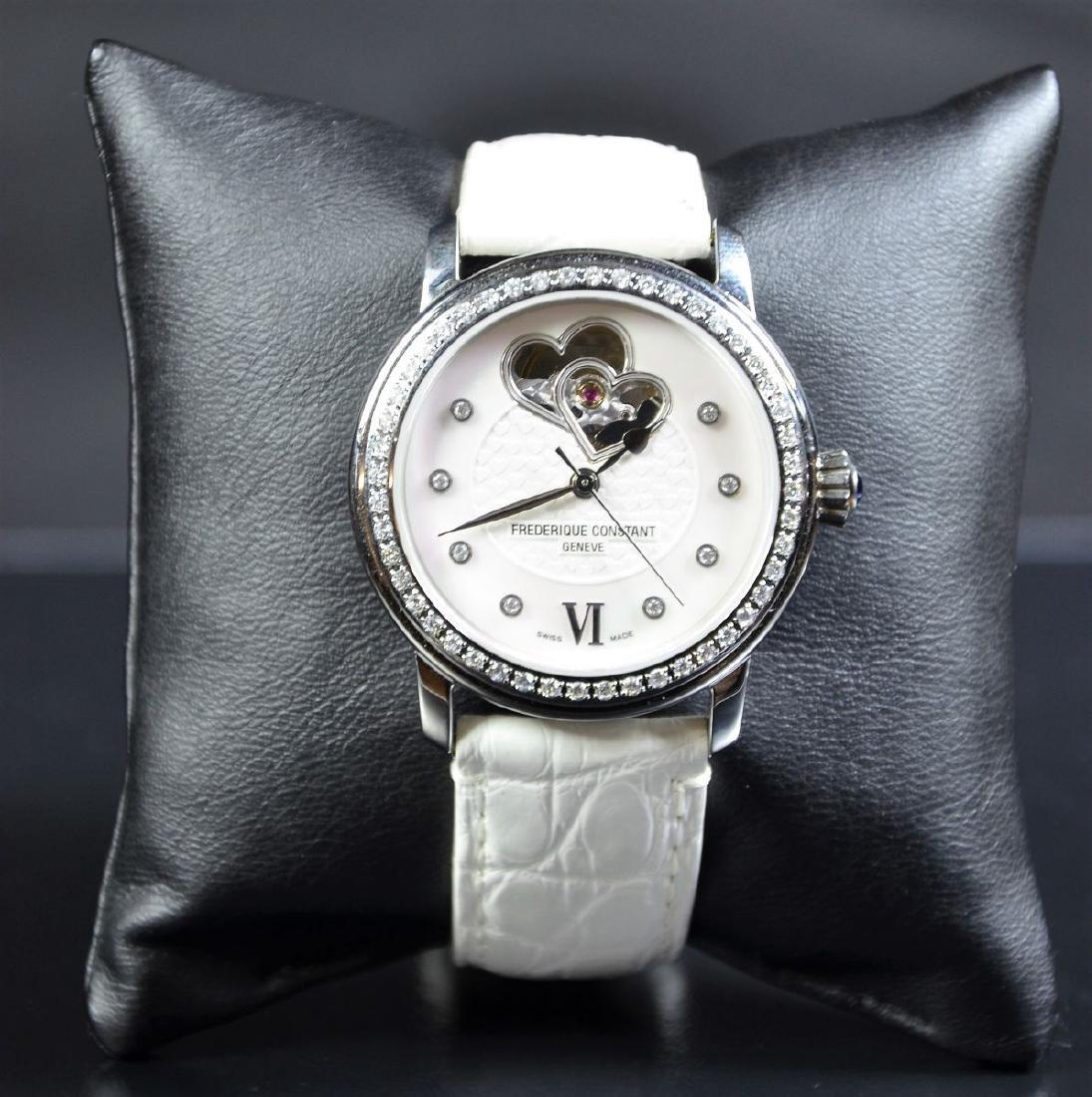 Steel watch with diamonds FREDERIQUE CONSTANT, nacre