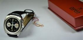 DAMAS Chronograph. Steel, black dial, 45 minutes