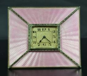 Table clock in silver, guilloched. Art Deco.