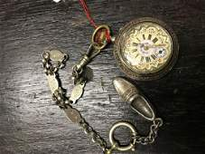 Silver pocket watch painted clock face with chain