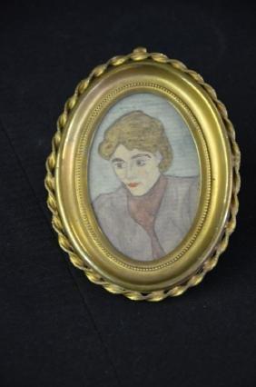 Miniature portrait of a lady, aquarelle technique on