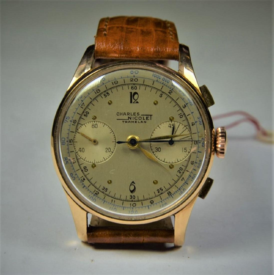 Chronograph CHARLES NICOLET in rose gold 18ct. Diameter
