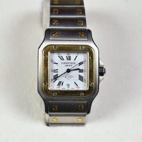 Wristwatch CARTIER. Bicolor. Quartz movement. Calendar.