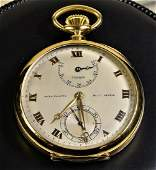 PATEK PHILIPPE gold pocket watch with power reserve.