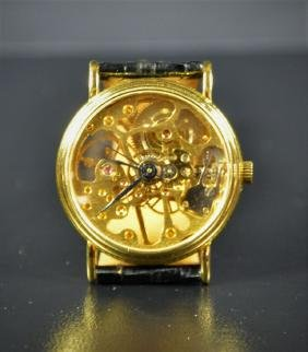 Skeleton wristwatch, gilded. Very good condition.