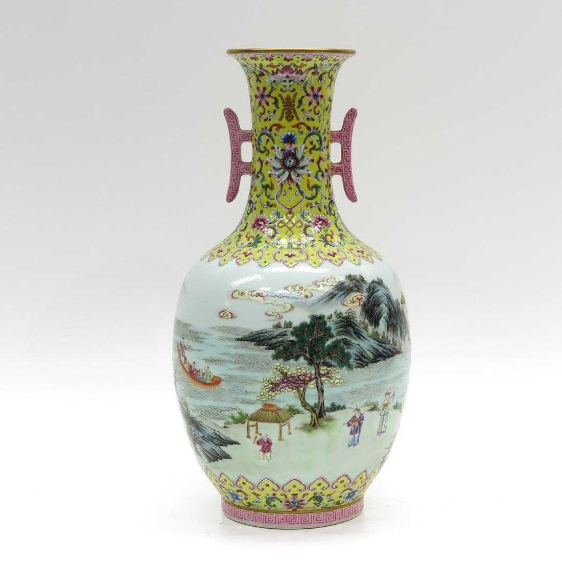 Chinese Famille Rose Enamel Decor Vase - 3
