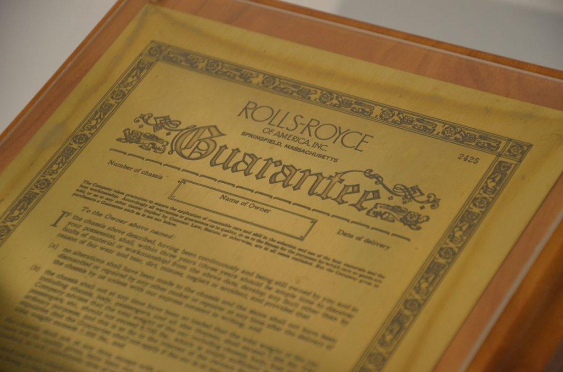 Brass Rolls Royce Guarantee Certificate Springfield