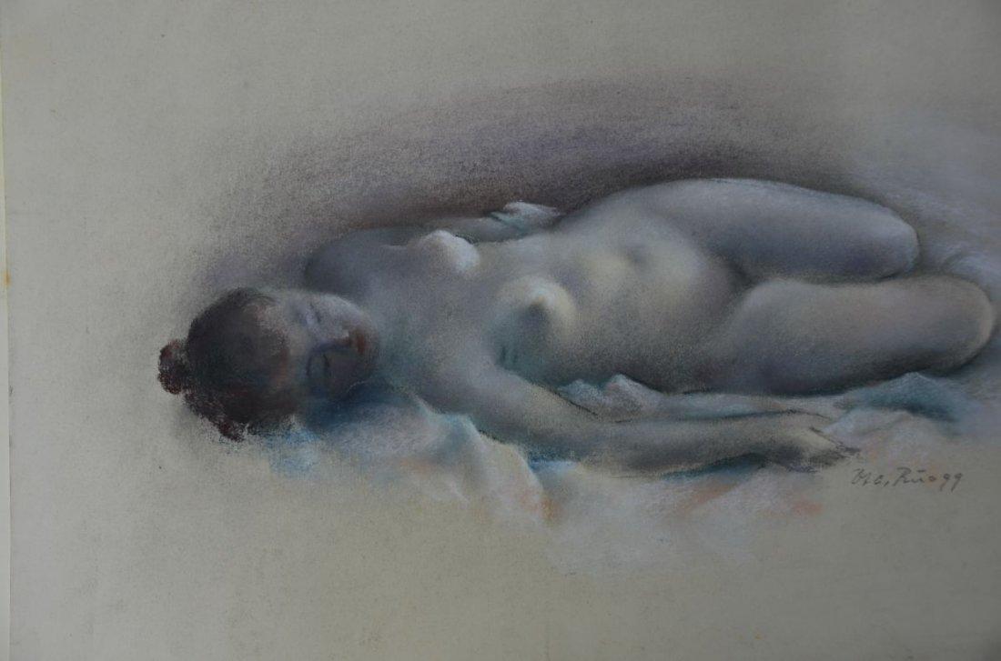 """RUEEGG, Oscar (1896 - 1987), """"Lying Nude Lady"""", Pastel"""