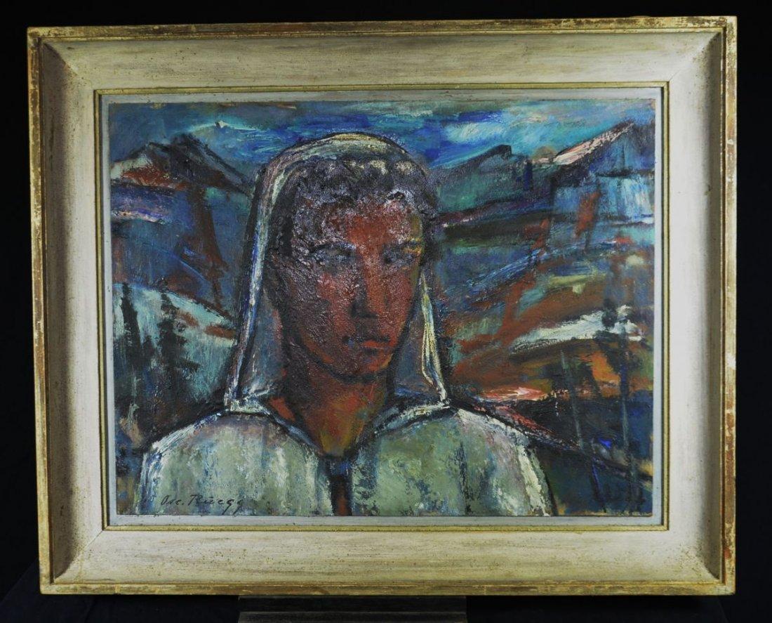 """RUEEGG, Oscar (1896 - 1987), """"Young Alps Man"""", Oil on"""