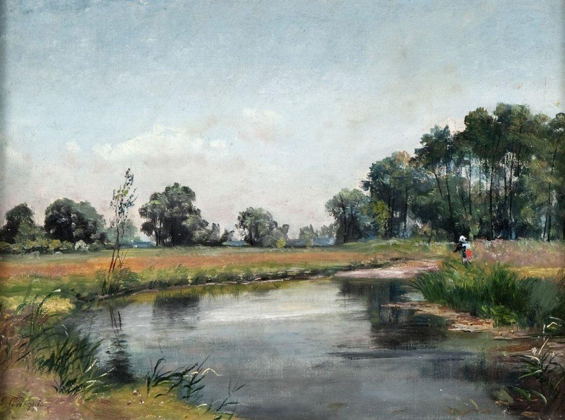 """CORREGGIO, Ludwig """"Small Creek in a wide Landscape"""""""