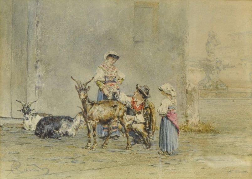 """RAUCH, Johann Josef, """"Children playing with Goats"""","""