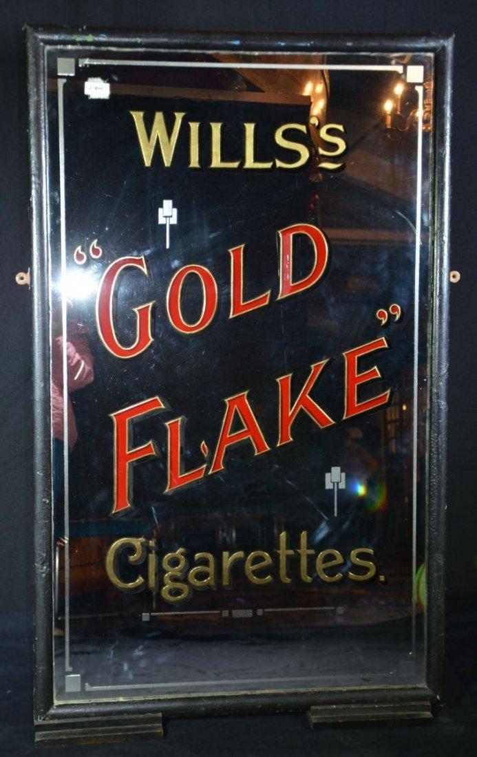 "Antique Advertising Mirror ""Wills's Gold Flake"