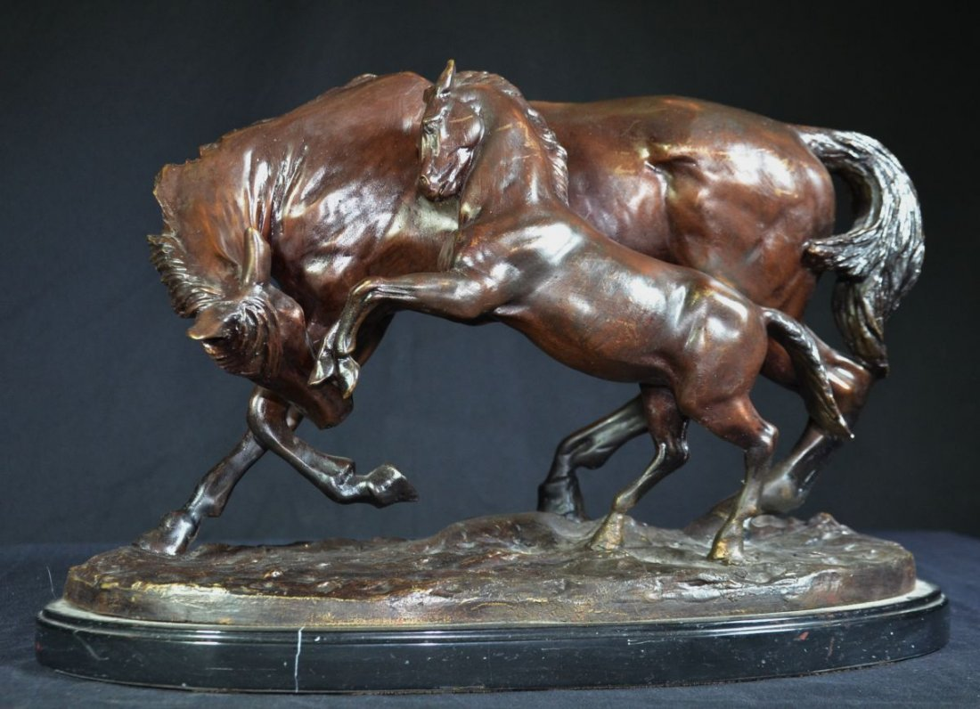 Horse Sculpture in Bronze with brown Patina