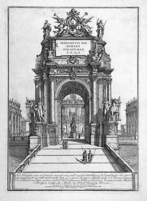 5327: Aquila, Francesco Faraone: Triumphbogen für Innoc