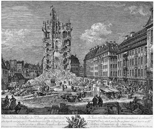 5330: Bellotto, Bernardo: Die Trümmer der Kreuzkirche i