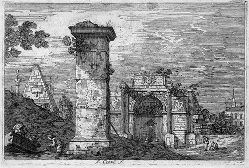 5344: Canale, Antonio: Landschaft mit antiken Ruinen