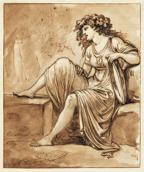 5551: Labruzzi, Carlo: Frau in antikischem Gewand mit e