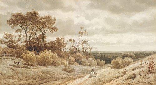 5635: Bakhuyzen, Julius J. van de Sande: Feldweg mit ei