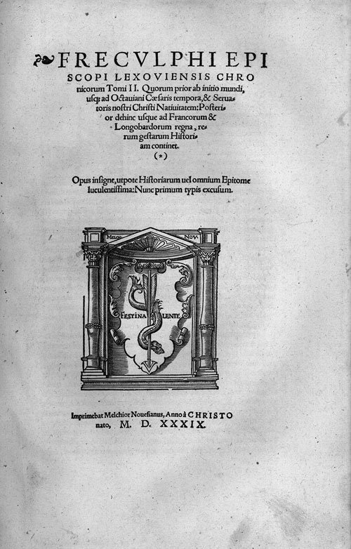 719: Freculphus, Bischof von Lisieux: Chronicorum Tomi
